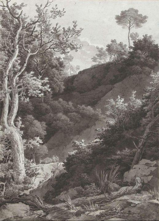Jacob Philipp Hackert~Beboste berghe - Classical art