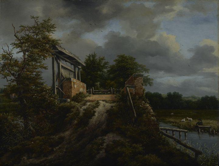 Jacob van Ruisdael~Bridge with a Slu - Classical art