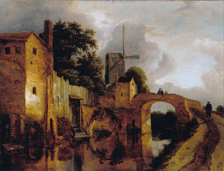 Jacob van Ruisdael~Canal with Bridge - Classical art