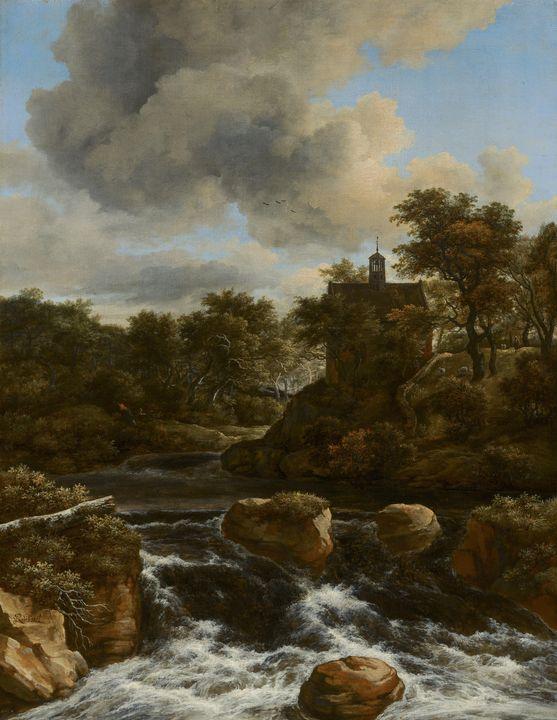 Jacob van Ruisdael~Chapel by a Water - Classical art