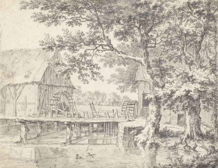 Jacob van Ruisdael~Dubbele watermole - Classical art