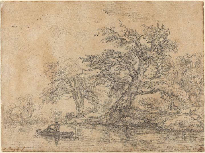 Jacob van Ruisdael~Old Trees along a - Classical art