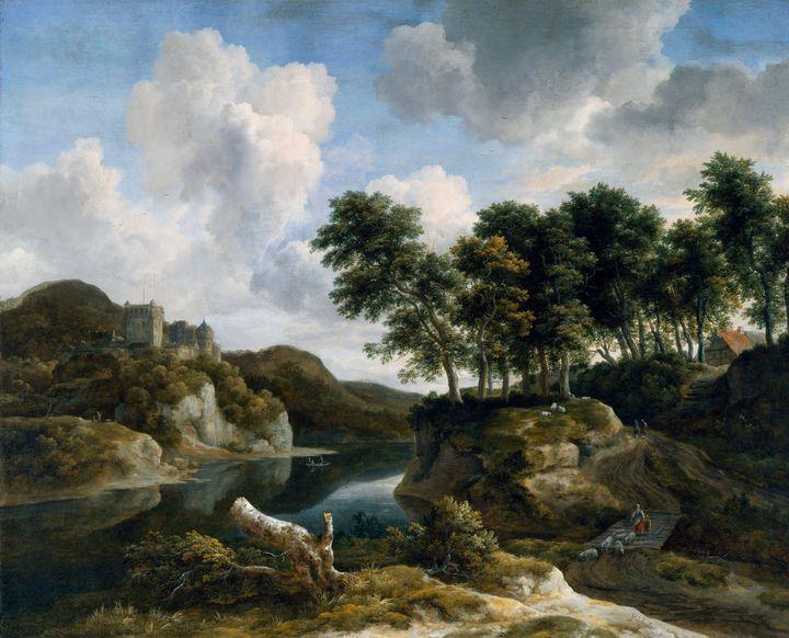 Jacob van Ruisdael~River Landscape w - Classical art