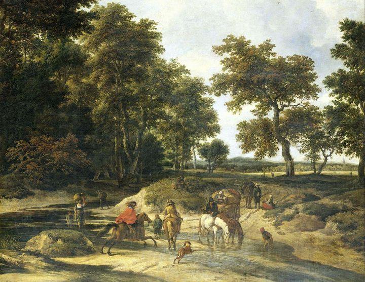 Jacob van Ruisdael~The ford - Classical art