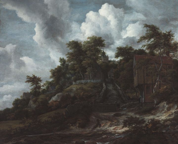Jacob van Ruisdael~Wooded hillside w - Classical art