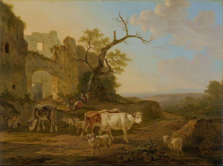 Jacob van Strij~Landscape with Cows - Classical art