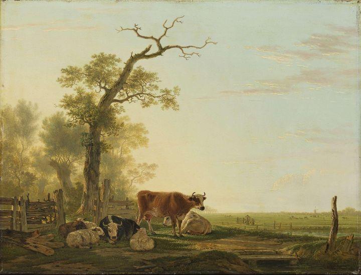 Jacob van Strij~Meadow Landscape wit - Classical art