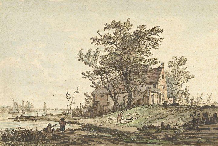 Jacob van Strij~Oude boerderij aan e - Classical art