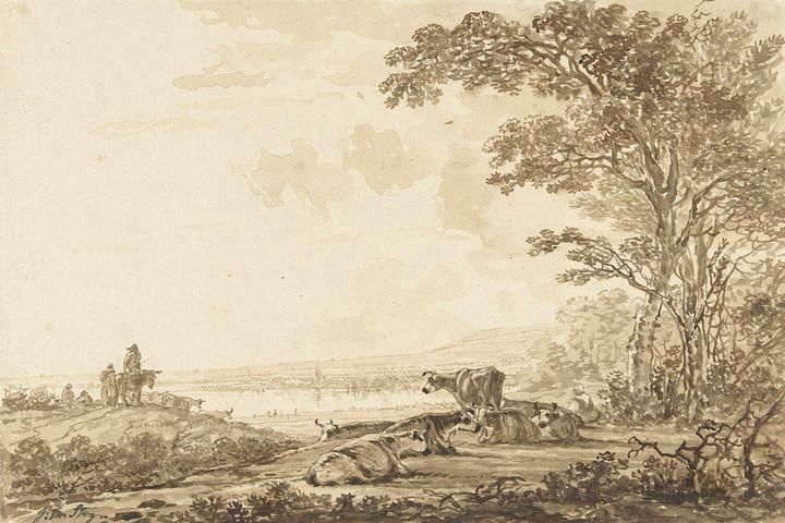 Jacob van Strij~Rivierlandschap met - Classical art
