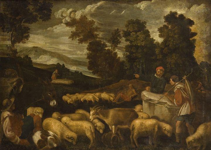 Jacopo Bassano~Pastores con rebaño d - Classical art