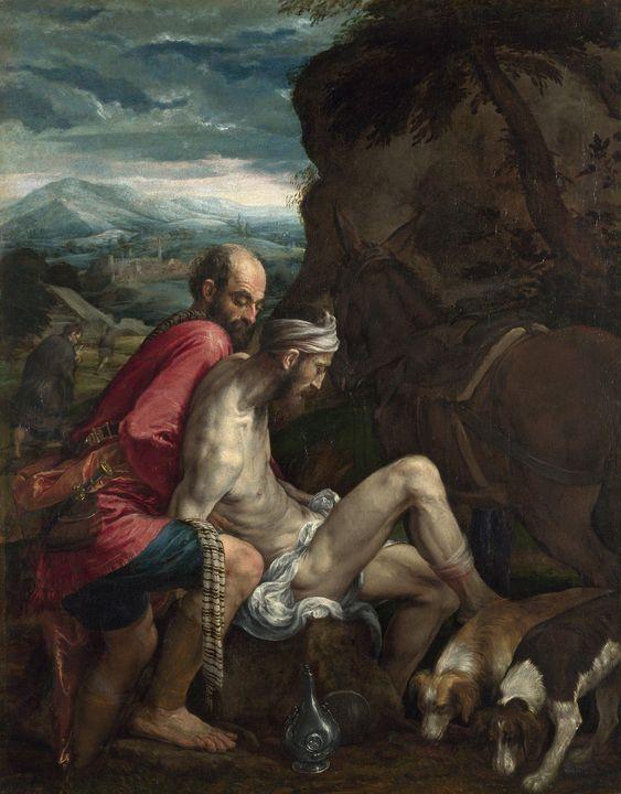 Jacopo Bassano~The Good Samaritan - Classical art