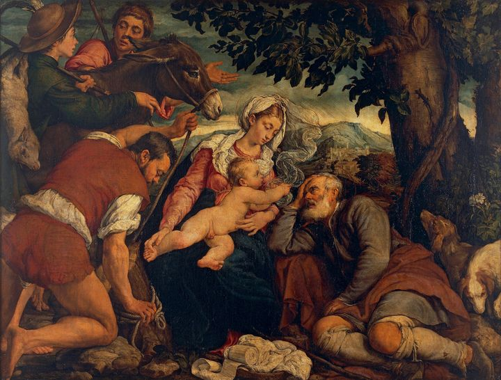 Jacopo Bassano~The Rest on the Fligh - Classical art