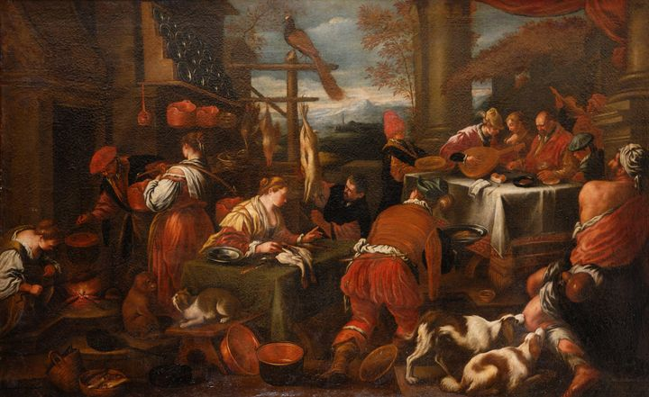 Jacopo Bassano~The rich glutton and - Classical art