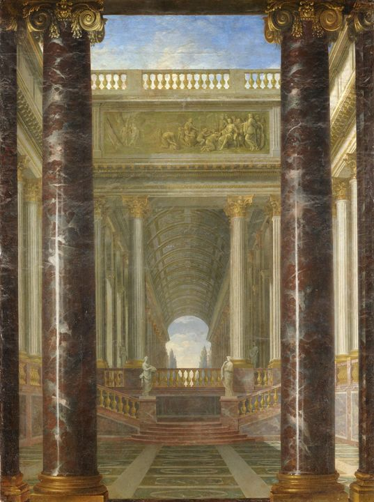 Jacques Rousseau~Perspective of gard - Classical art