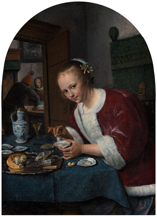 Jan Steen~Girl Eating Oysters - Classical art