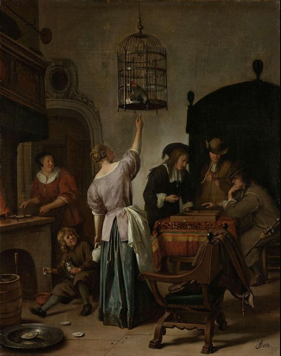 Jan Steen~Interior with a Woman Feed - Classical art