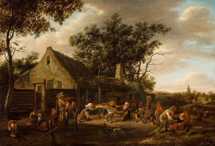 Jan Steen~Peasants Dancing at an Inn - Classical art