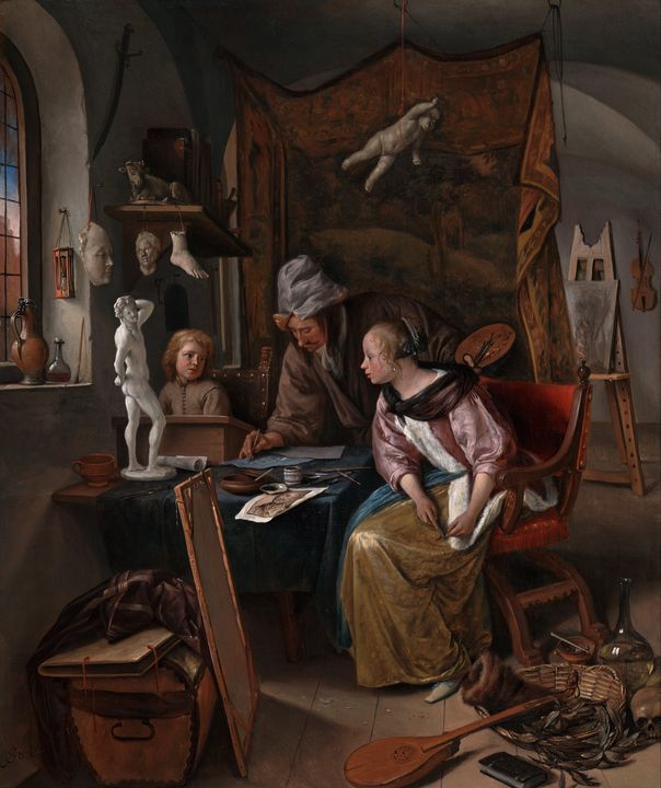 Jan Steen~The Drawing Lesson - Classical art