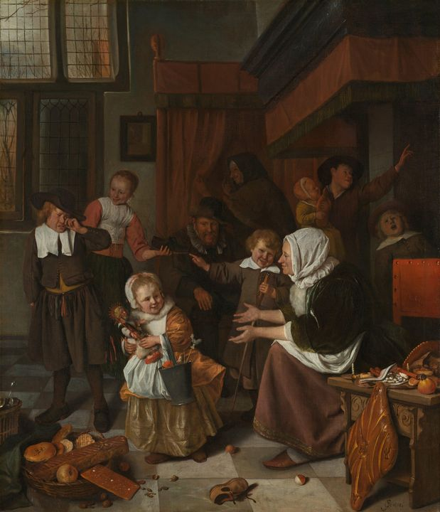 Jan Steen~The Feast of St. Nicholas - Classical art
