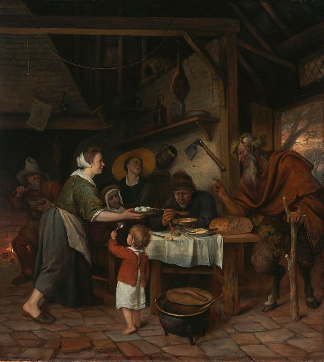 Jan Steen~The Satyr and the Peasant - Classical art