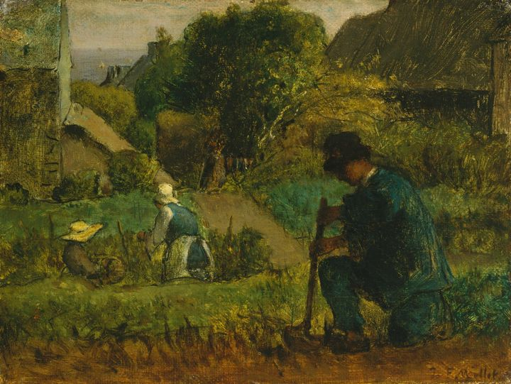 Jean-François Millet~Garden Scene - Classical art