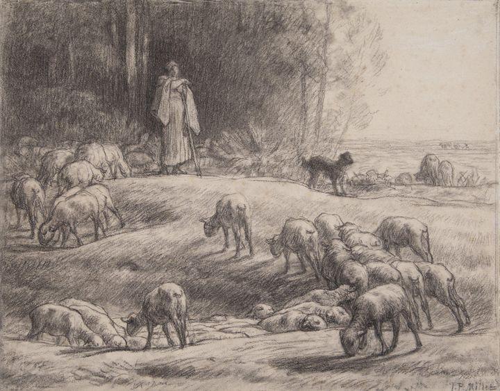 Jean-François Millet~The Shepherdess - Classical art