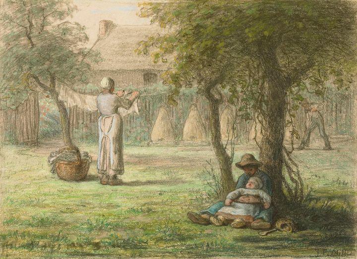 Jean-François Millet~Woman hanging l - Classical art