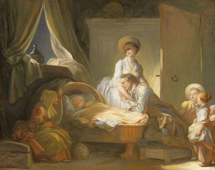 Jean-Honoré Fragonard~The Visit to t - Classical art