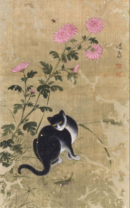 Jeong Seon~A Leisurely Cat in Autumn - Classical art