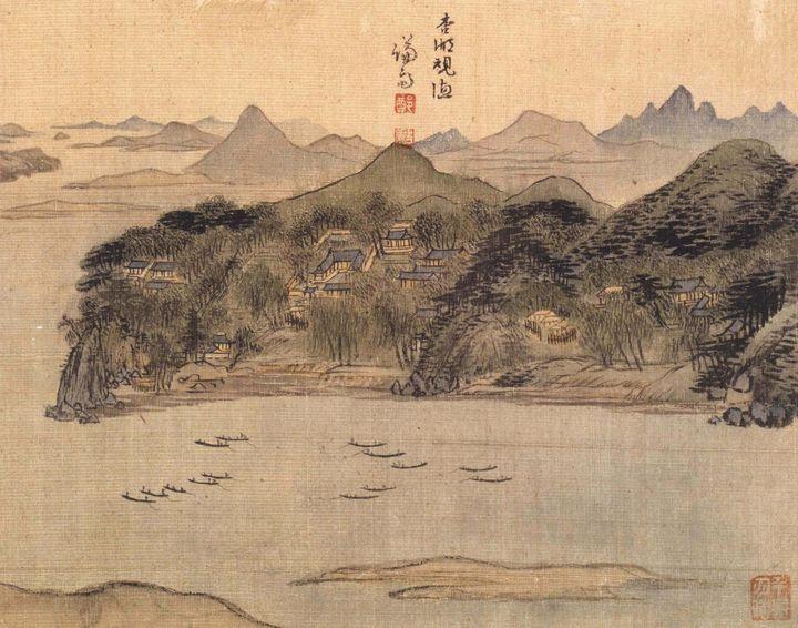 Jeong Seon~Fishing on Haengho Lake - Classical art