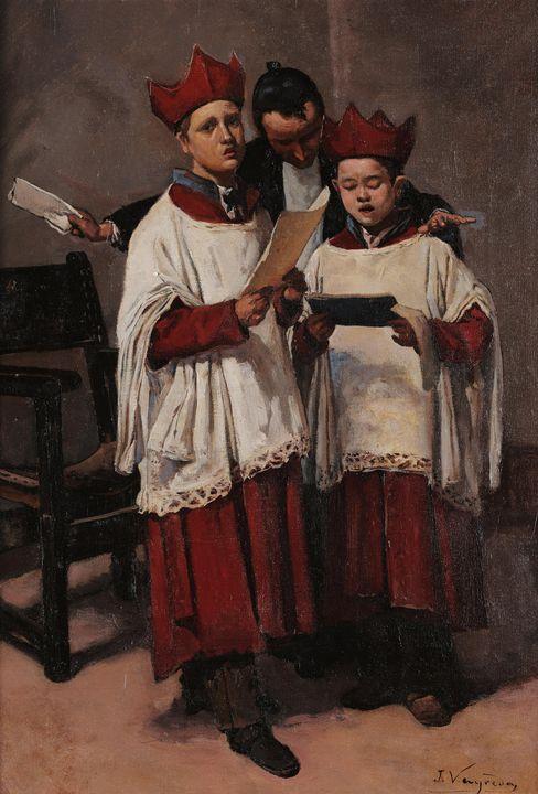 Joaquim Vayreda~Song lesson - Classical art
