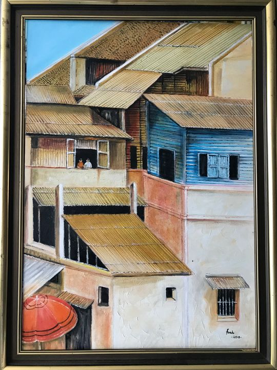 Old town oil painting - FaAi