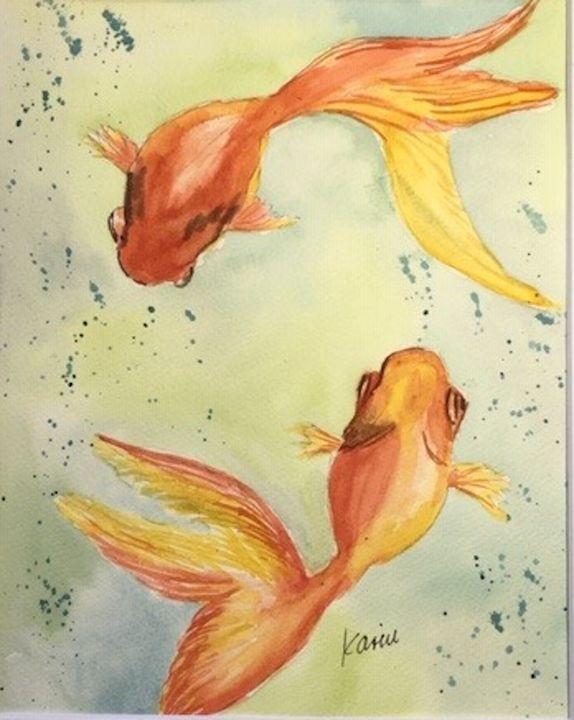 Goldfish - Karin Minshull Original Watercolor paintings
