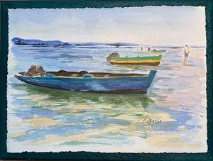 Fishing Boats - Karin Minshull Original Watercolor paintings