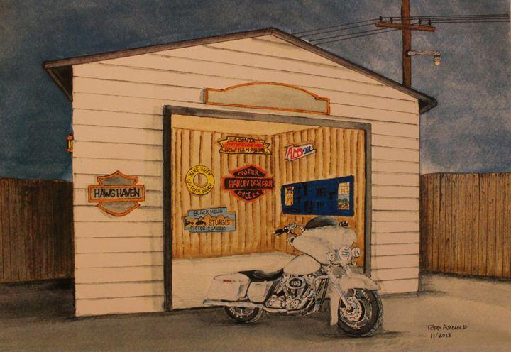 motorcycle in garage - J.T. Arts