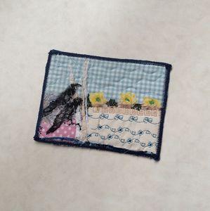 crows nest mixed media art postcard - sylvia