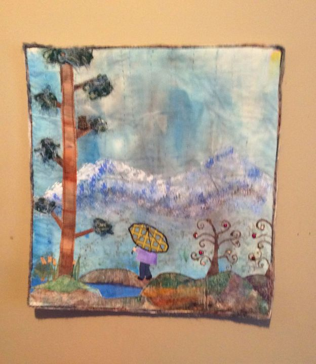Rain mixed media art wall hanging - sylvia