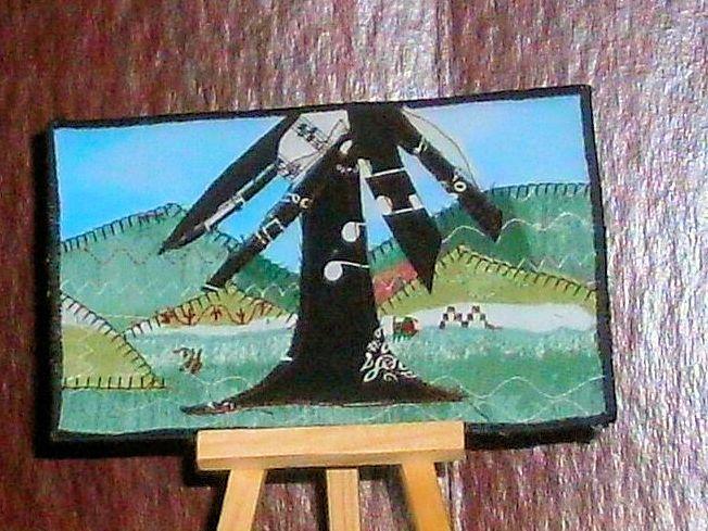 music tree fabric art postcard - sylvia