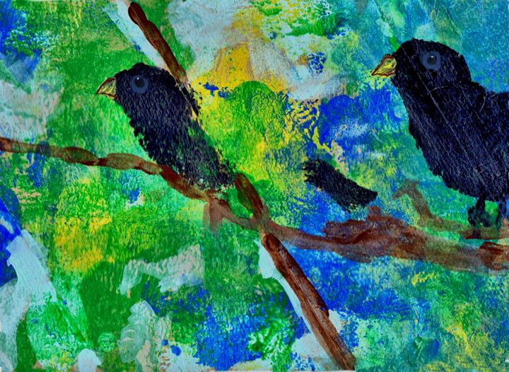 crows in trees art postcard - sylvia