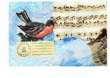birds sings art postcard