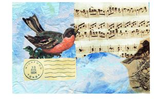 singing birds art postcard
