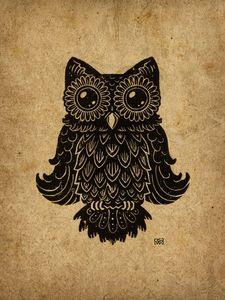 Higgins The Owl Lino-cut