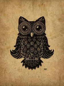 Higgins The Owl Lino-cut Print - Kyle Wood Art