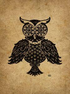 Elizabeth the Owl Lino-cut