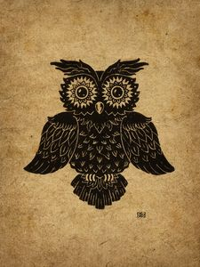 Edwin the Owl 9X12 inches - Kyle Wood Art