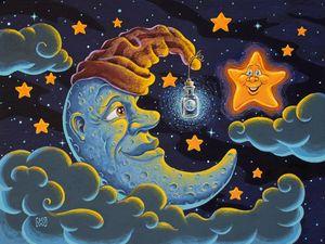 Moon admiring the magic of the Earth - Kyle Wood Art