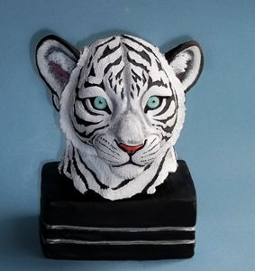 Realistic white tiger cub bust