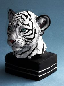 White tiger cub painted sculpture