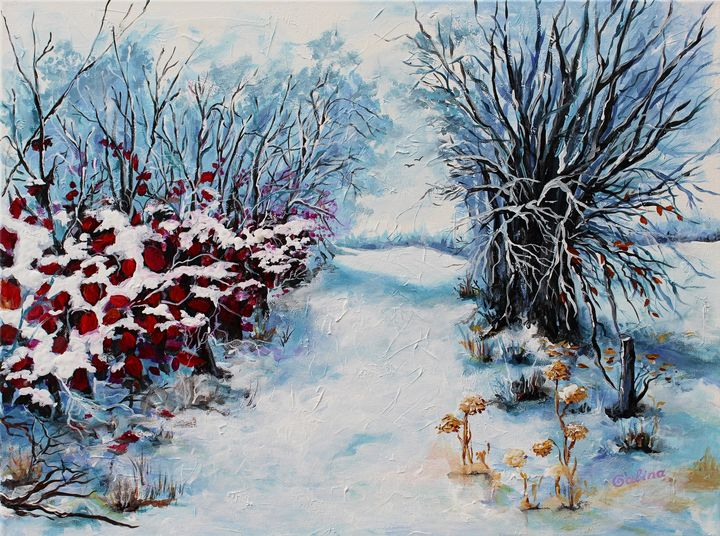 Winter with Red Leaves - Caribe Art