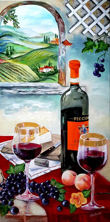 The Wine Painting - Caribe Art